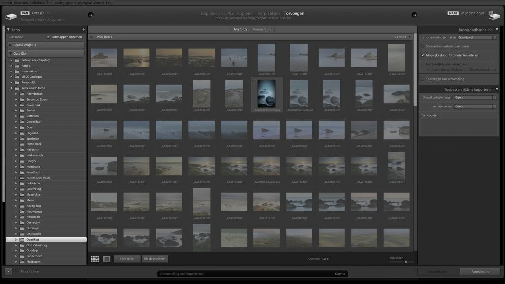 Een voorbeeld van een scherm in Lightroom