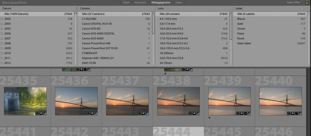 je foto's terugvinden in photoshop lightroom