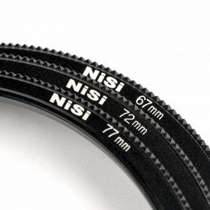 NiSi levert standaard 4 adapterringen bij een filterhouder