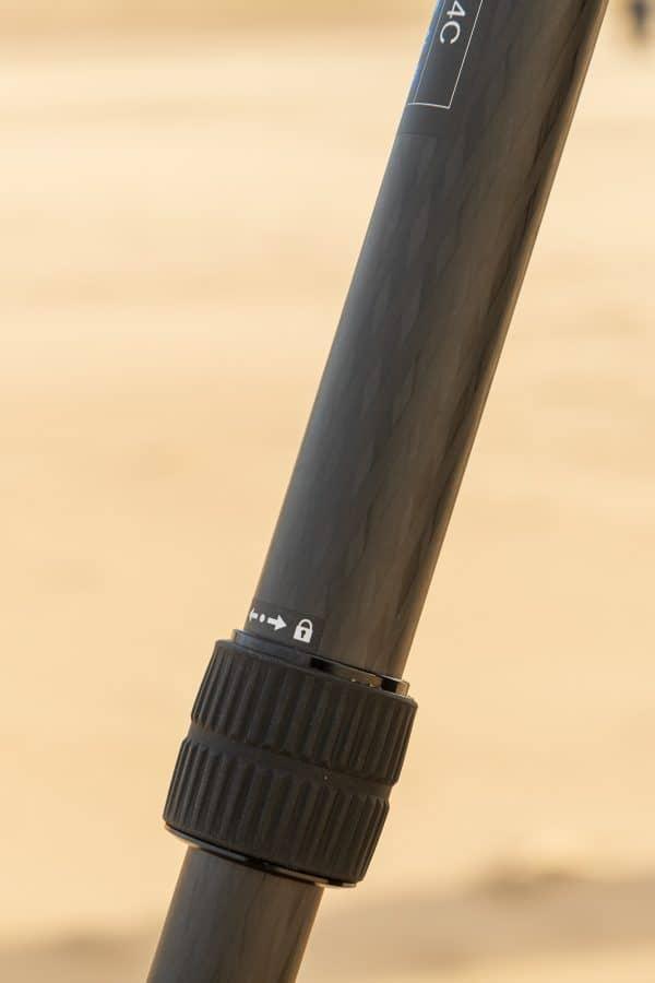 Close-up van het sluitsysteem van de poot van het Leostatief
