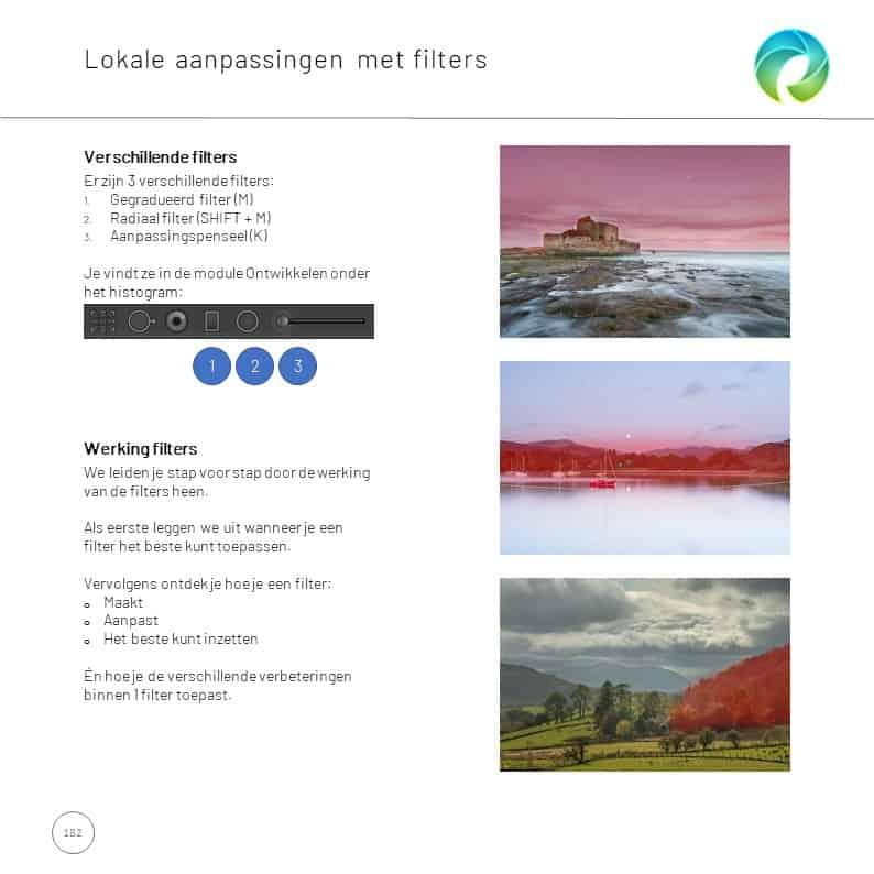 aanpassingen met filters  in lightroom classic