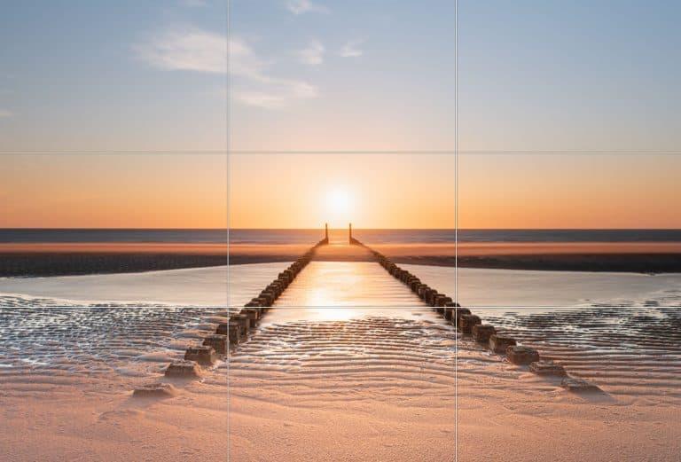 Horizon en onderwerp in het midden.
