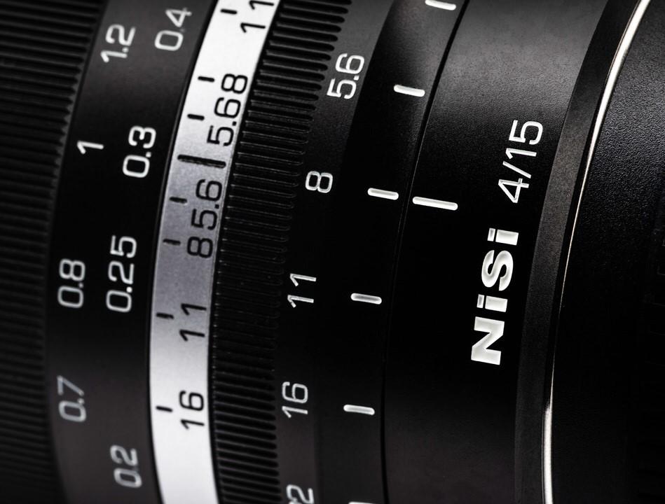 De schaalverdeling op het Nisi MF 15mm f4.0 ASPH objectief