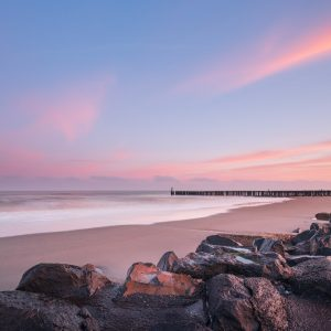 Zonsopkomst tijdens de privé masterclass kustfotografie met lange sluitertijden