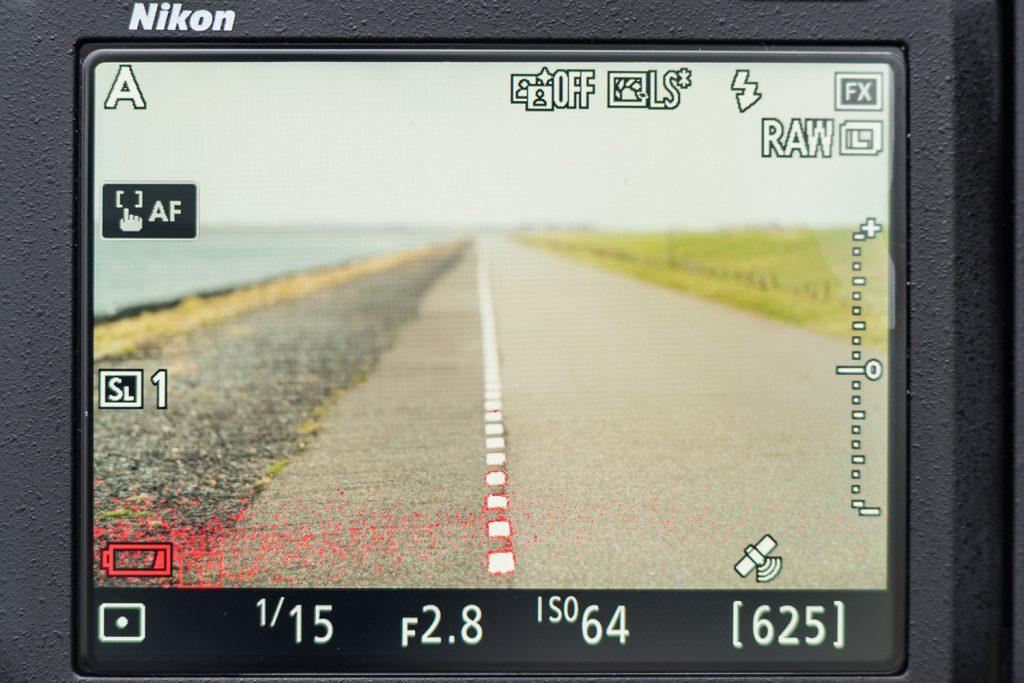 Zo ziet focus peaking er in live view uit
